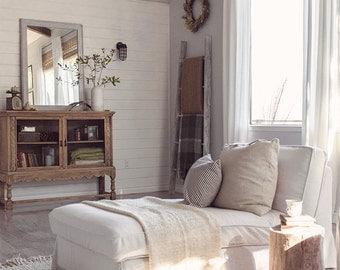 Custom IKEA Kivik Chaise Slipcover (Long Skirt) In Liege Eggshell Linen  Fabric
