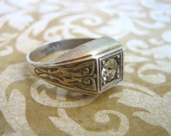 Art Deco Sterling Silver Ring with Crystal Stone