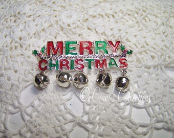 MERRY CHRITSMAS Enamel Brooch Jewelry Red Green With Bells On Rhodium Backed Holly Leaf Berry Holiday Pin Ugly Sweater Party Festive Elf