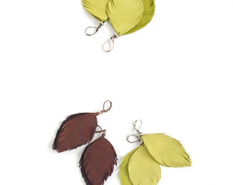 Leather feather earrings in copper brown and in lemon green. Set of two pairs
