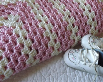 Crocheted Baby Blanket in a Soft Shade of Pink and Cream with a Fancy Edge