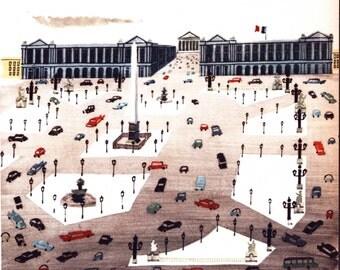 Place de La Concorde, Paris square, vintage Paris print