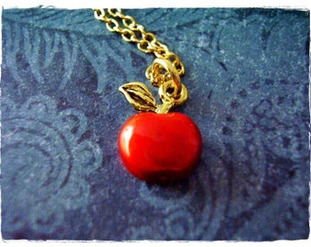 Red Apple Necklace - Red Enameled Antique Gold Pewter Red Apple Charm on a Delicate Gold Plated Cable Chain or Charm Only