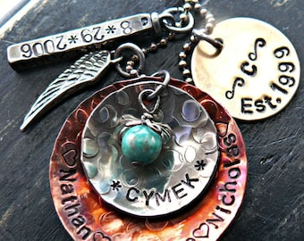 Mothers Hand Stamped Jewelry - Personalized Hand Stamped Jewelry - Grandmothers Personalized Jewelry - Mothers Large Family Custom Neklace