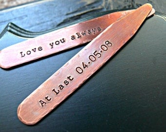 Mens Personalized Copper Collar Stays - Personalized Collar Stays - Mens Personalized Collar Stays - Gift For Him - Custom Collar Stay
