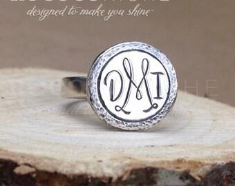 Monogram Ring – Custom Monogram Jewelry – Heirloom Monogram Ring – Initial Ring – Three Letter Monogram Ring – Four Letter Monogram Ring