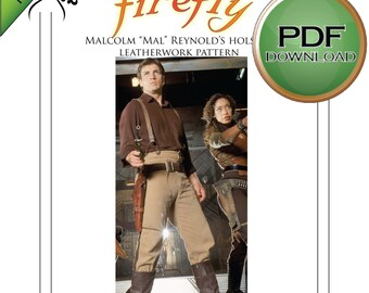 Firefly Mal's Gun Holster pattern PDF Instant download Full size Leather pattern