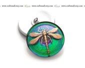 Handmade Czech glass button - 31mm green and gold dragonfly button - 15038/14