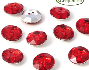 Acrylic rhinestone buttons - red - set of 10 buttons - F015-15mm-M