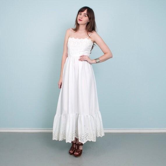 Vintage White Eyelet Wedding Dress 70 39 S Boho Hippie Maxi