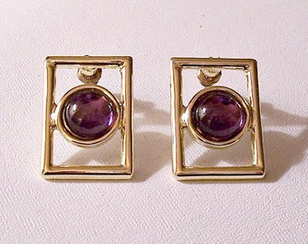Square Open Box Purple Bead Pierced Surgical Steel Post Stud Earrings Gold Tone Vintage Smooth Large Domed Round Clear Lucite Center Discs