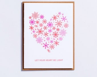 "Holiday Collection | ""Let Your Heart Be Light"" Letterpress Holiday Card"