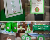 Monkey Birthday Party Package, DIY, Green, Brown