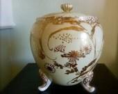 Antique Biscuit Barrel Jar Box Cookie Jar Footed Porcelain Hand Painted Gold Vintage
