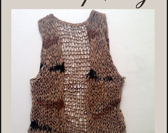 SALE! Cool knitted real leather vest - Handmade