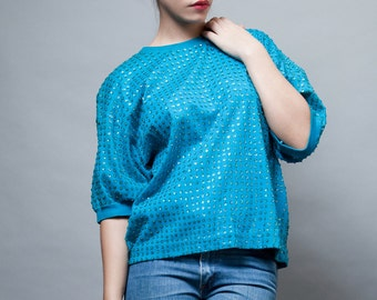 vintage 80s top blue turquoise sequinned sequins oversized ONE SIZE Small Medium Large S M L