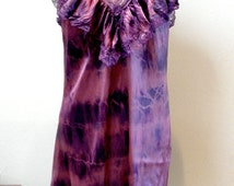 Slip Dress Tunic Nightgown: Shibori upcycled Slip Dress with V Neckline Ruffle in Deep Reds and Purples Watercolor Dye Lingerie Art Clothing
