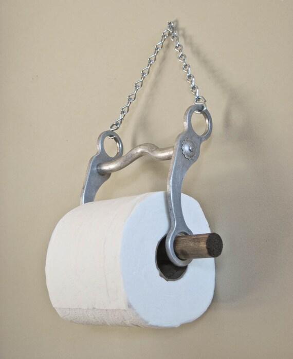 Toilet Paper Holder Rustic Bathroom Decor Repurposed Aluminum Horse Bit Western Style Tissue By OlliesFineThings