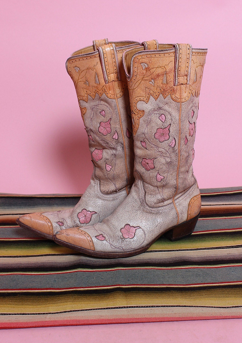 FABULOUS Vintage Style Custom Hand Detailed 2 Tone Cream & Sherbet Orange w/ Pale Pink Flower Inlays Cowboy Boots by The Old Gringo - 7.5 B