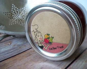 Eat Your Fruit KRAFT paper canning jar labels, 2 inch round vintage retro mason jar stickers, fruit preservation, jam and jelly jar labels