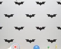 Batman Wall Decal with Wallpaper or Wall Stencil Effect - Superhero Decal - Bat Sticker for Children Room - Bat Wall Decor LSWP-AP0022NF