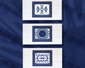 Set of 3 Framed Indigo Blue Shibori Inspired Tribal Prints Distressed Plank Frames