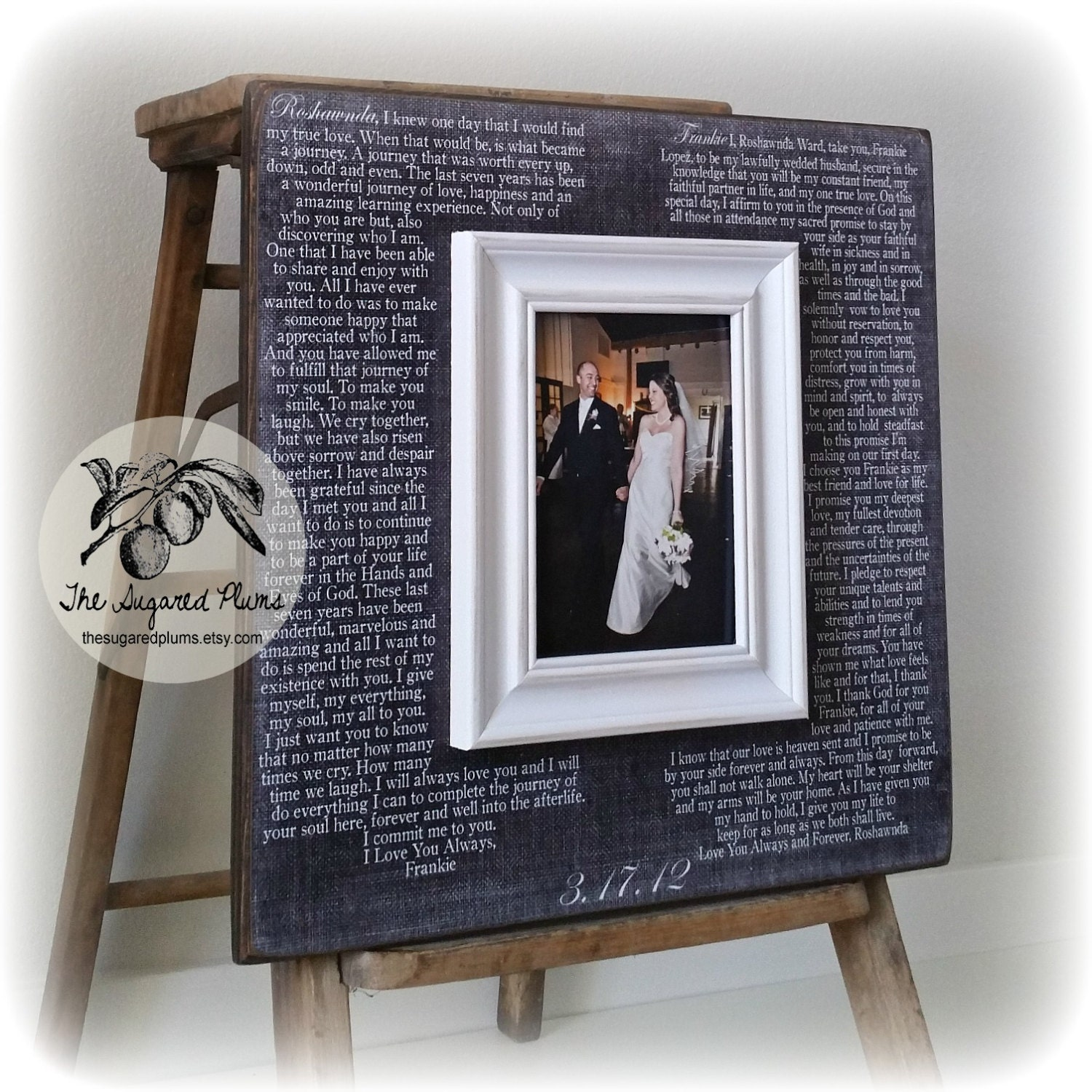 Wedding Vow Gifts: Wedding Vow Art 5th Anniversary Gift Framed Wedding Vows