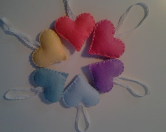 6 Felt Heart Ornaments Pastel Rainbow Spring Decorations