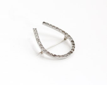 Sale - Antique Sterling Silver Edwardian Horseshoe Rhinestone Brooch - Vintage Early 1900s Equestrian Good Luck Statement Pin Jewelry