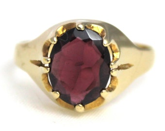 Vintage Unisex Garnet Solitaire Ring Engagement 9ct 9k 375 Yellow Gold | FREE SHIPPING | Size Q / 8.25