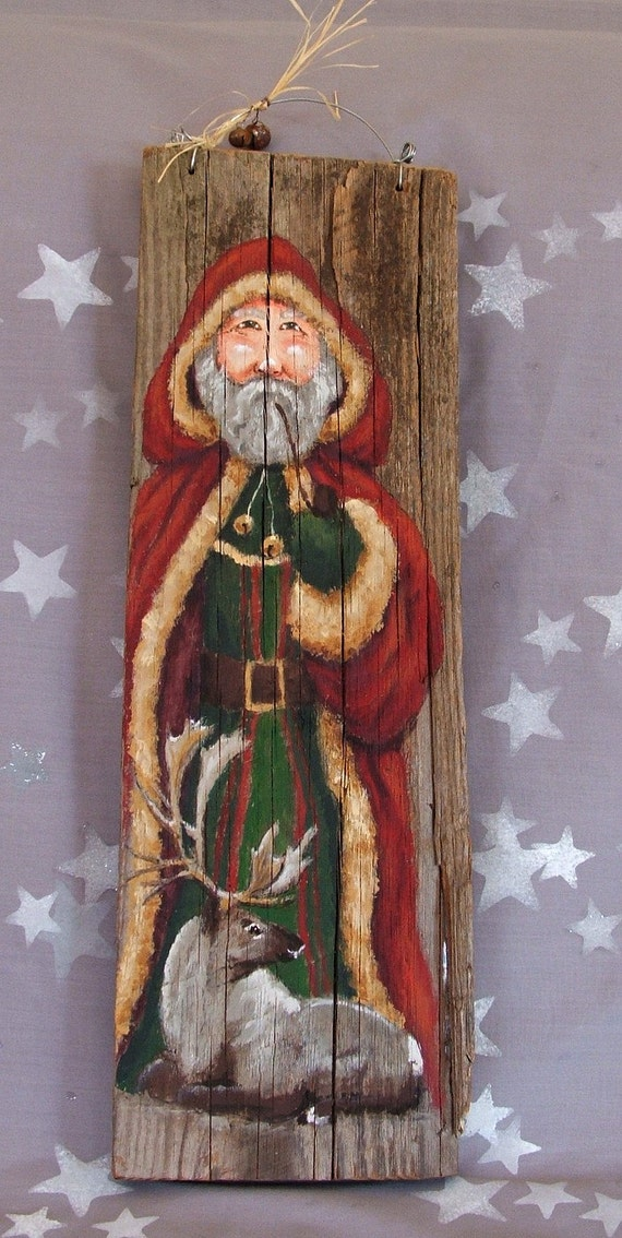 Father Christmas Authentic Barnwood Hand Painted 18 X