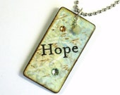 Keychain Pale Green Decoupaged Rectangle Wood Key Chain Stocking Stuffer Swarovski Crystal Embellished Word Hope Gift for Her Under 10
