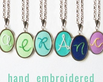 Initial Necklace. Hand Embroidery. Personalized Gifts under 50. Colorful Jewelry. Teen Girl Jewelry. Embroidered Pendant. letter Necklace