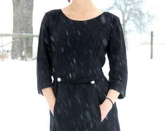 vintage 1960s dress / 60s black dress