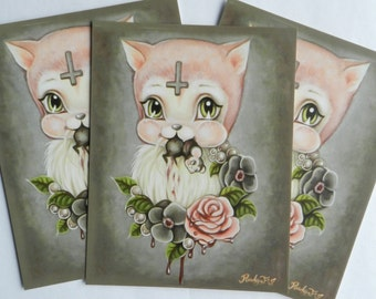 The Bloody Mow Mow postcard set from Rudy Fig, kitten, 3 cards, snail mail, moon child, pastel goth, cross, pink cat oil painting, roses