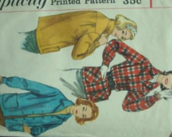 1950s Lumberjack Chic Outerwear Suburbanite Notched Collar Jacket Buttoned Wristbands Simplicity 2273 Bust 34 Women's Vintage Sewing Pattern