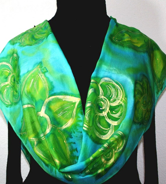 Silk Scarf Handpainted. Green, Gold Hand Painted Shawl. Handmade Silk Scarf GOLDEN GARDEN. Size 11x60 Anniversary, Mother Gift. Gift-Wrapped