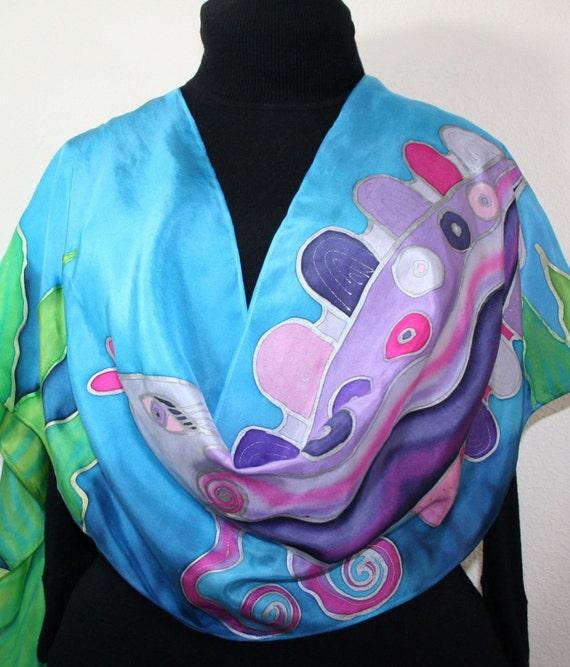 Silk Scarf Handpainted. Turquoise Purple, Green Hand Painted Shawl. Handmade Silk Wrap PURPLE FISH. Large 14x72. Birthday Gift. Gift-Wrapped