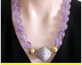 Ashira African Krobo Recycled Glass Trade Bead from Ghana, West Africa and rich Amethyst make this a Statement Necklace