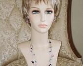 RESERVED:  Ashira Delicate Swarovski Crystal Floating Necklace - Pink, Violet, Lilac, Teal, Wine, Purple