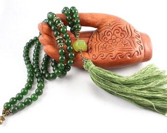 Jade Mala Necklace, Gemstone Mala, Tassel Necklace, Green Jade Mala, Prayer Beads, Mala Beads, Yoga Fashion, Tassel Mala, Tassel Necklace