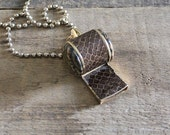 vintage snake skin and jasper whistle necklace, ball chain necklace