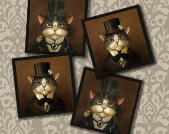 Cat Coasters - Cat Coaster Set - Victorian Cat Coasters - Cat Portrait Coasters -  Anthropomorphic Cat - Cat Art