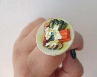 Miniature food Ring - Dinner Ring - Alice in Wonderland