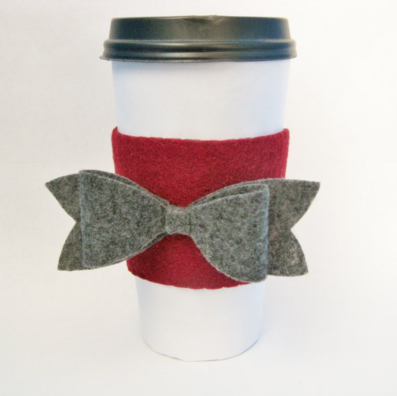 Felt Bow Coffee Cup Sleeve Cozy / Red and Gray Valentine's Day Gifts for Her / Preppy Coffee Accessory / Teacher Gift / Bridesmaid Present