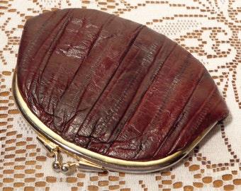 Vintage Genuine Eel Skin Clutch and Change Purse  -  14-1427