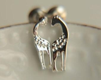 Minimalist Stud Earrings: Giraffe shaped stud earrings for everyday use,tiny stud earrings rhodium plated earrings pink gold stud