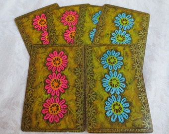 6 Pink & Turquoise Lace Flowers Vintage Playing Cards, Hallmark