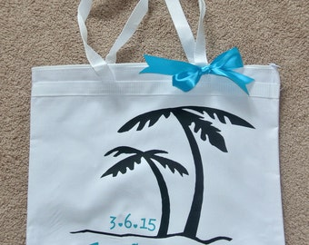 Bride and Groom personalized wedding honeymoon beach tote bag to match our personalized towels - great gift for bridal shower or bridesmaids