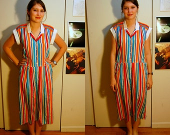 L Vintage 80s Bright Striped Dress